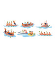 business team in boat set vector image vector image