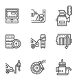 Car service simple line icons vector image