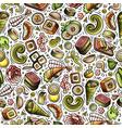 cartoon cute hand drawn japan food seamless vector image vector image