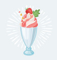 cartoon strawberry milkshake vector image vector image
