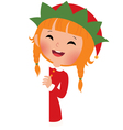 Christmas elf looking from behind the placard vector image vector image