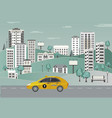 city landscape with riding yellow taxi vehicle on vector image