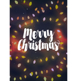 Cozy yellow Christmas light garlands greeting card vector image