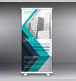 creative blue standee roll up banner design vector image