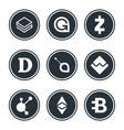 cryptocurrency or virtual currencies icon set vector image vector image