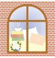 Cup of coffee cocoa tea cappuccino view window vector image