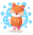 cute fox and angel wings illustration vector image