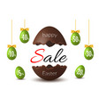 easter egg text sale chocolate happy easter egg vector image vector image