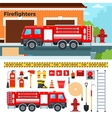 Fire-engine waiting on the street vector image vector image