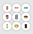 flat icon eating set of tart packet beverage tin vector image vector image