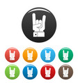 hand rock icons set color vector image vector image