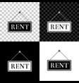 hanging sign with text rent icon isolated on black vector image vector image