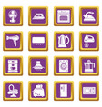 house appliance icons set purple square vector image vector image