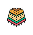 mexican poncho national clothes flat color line vector image