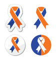 Navy blue and orange ribbons - family caregivers vector image vector image