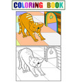 pet cat stretches children coloring book with an vector image vector image