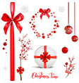 red elements christmas set vector image