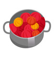 saucepan with fruits or vegetables red fruits or vector image