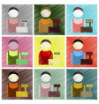 set of flat icons in shading style cashier vector image vector image
