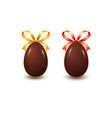 set of realistic chocolate easter eggs with bow vector image