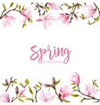 Spring Blossom Background - Magnolia Flowers vector image vector image