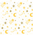 star night seamless pattern yellow white vector image