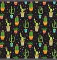 succulent and cactus seamless pattern cartoon vector image vector image