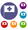 switzerland flag icons set vector image vector image