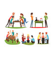 table games set friends playing domino and chess vector image vector image