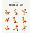 tangram set creative art colorful animal shapes vector image vector image