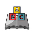 text book school with blocks alphabet vector image vector image