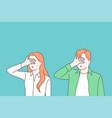 turning blind eye cartoon concept vector image