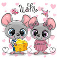 two cartoon rats on a hearts background vector image vector image