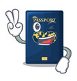 two finger blue passport above character wooden vector image vector image