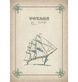 Vintage sailboat retro border drawing on old paper vector image vector image