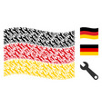 waving german flag collage of wrench icons vector image