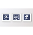Realistic Navy or Marine Picture Frames Set vector image