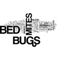 bed bugs mites spray text word cloud concept vector image vector image