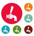 beer tap icons circle set vector image