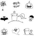Black white halloween in doodle vector image vector image