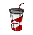 carbonated soft drink engraved in ink hand drawn vector image