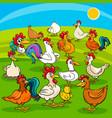 Cartoon chickens farm animals group