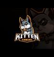 cat mascot sport logo design vector image vector image