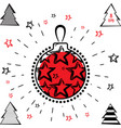 christmas ball and christmas tree icon vector image