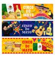 cinco de mayo holidays cartoon banners set vector image vector image