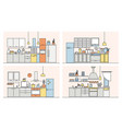 collection of kitchens full of modern furniture vector image vector image