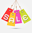 Colorful Sale Tags - Labels Hang on Rope on Grey vector image vector image