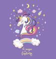 cute cartoon unicorn dreaming vector image vector image