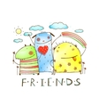 Cute friends monster animals with clouds and vector image vector image