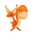 cute funny squirrel amusement little orange vector image vector image